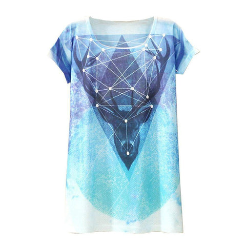 Geometric Deer Printed Short Sleeve Tees