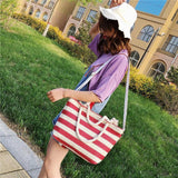 Bucket Shape Striped Large Shoulder Bag-women-wanahavit-Red-wanahavit