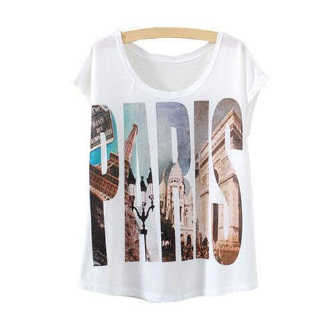 Paris Letter Printed Short Sleeve Tees-women-wanahavit-One Size-wanahavit