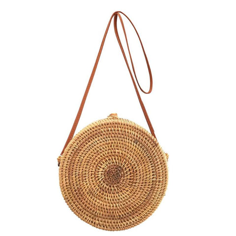 Cylindrical Plain Flap Round Straw Rattan Bag