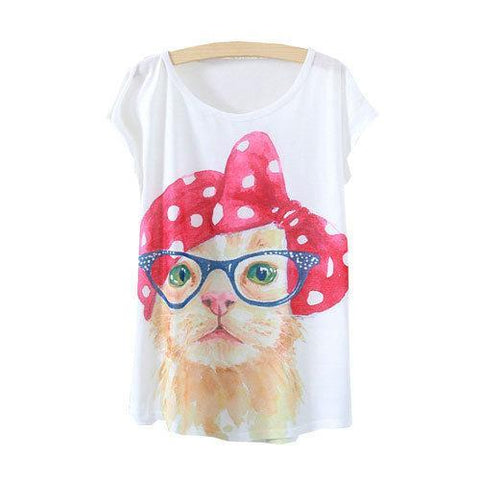Watercolor Cute Cat with Eyeglass Printed Short Sleeve Tees-women-wanahavit-One Size-wanahavit