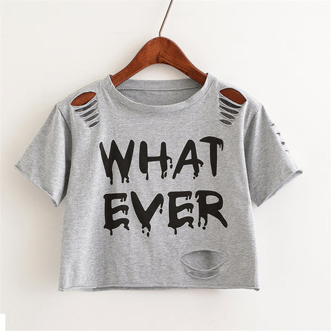 What Ever Print Hollow Out Crop Top Shirt-women-wanahavit-Silver-One Size-wanahavit