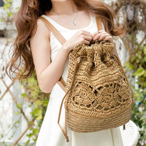 Bohemian Straw Drawstring Backpack-women-wanahavit-Khaki-wanahavit