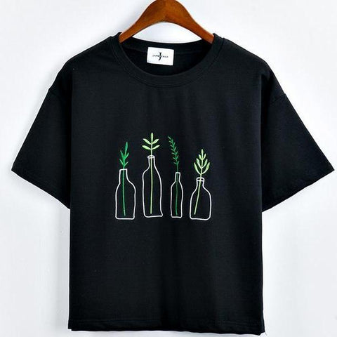 Plants n Bottle Embroidery Korean Style Shirt