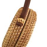 Small Outlined Flap Round Straw Rattan Bag