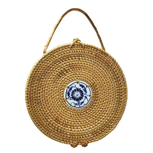 Blue and White Porcelain Decorative Circle Rattan Bag-women-wanahavit-wanahavit