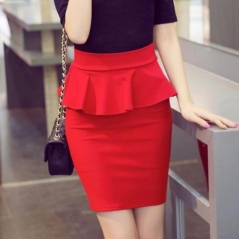 Elegant Ruffles Pencil Skirt-women-Red-XXL-wanahavit