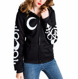 Punk Moon Witch Craft Printed Punk Rock Hoodies-women-wanahavit-Black-L-wanahavit