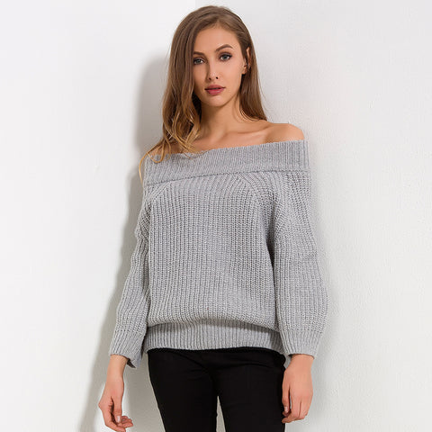 Off Shoulder Slash Neck Long Sleeve Sweater