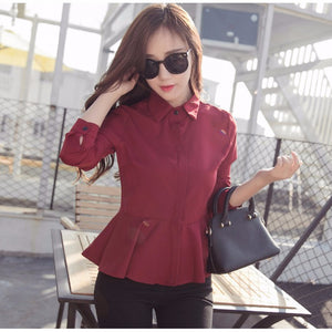 Fashion Collared Peplum Long Sleeve Chiffon Blouse-women-wanahavit-Wine red-L-wanahavit