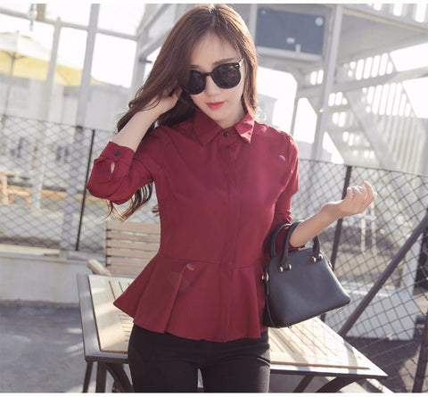 Fashion Collared Peplum Long Sleeve Chiffon Blouse
