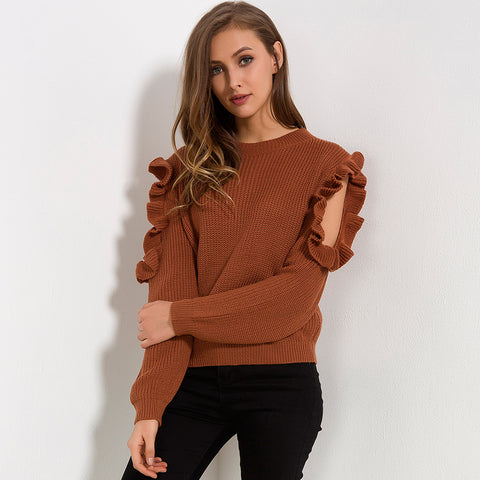 Cold Off Shoulder Ruffle Long Sleeve Knitted Sweater-women-wanahavit-Brown-One Size-wanahavit