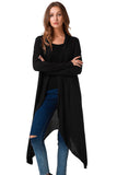 Asymmetrical Casual Long Cardigan-women-wanahavit-Black-L-wanahavit