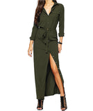 Long Sleeve Open Slit Maxi Dress-women-wanahavit-Army Green-XXL-wanahavit