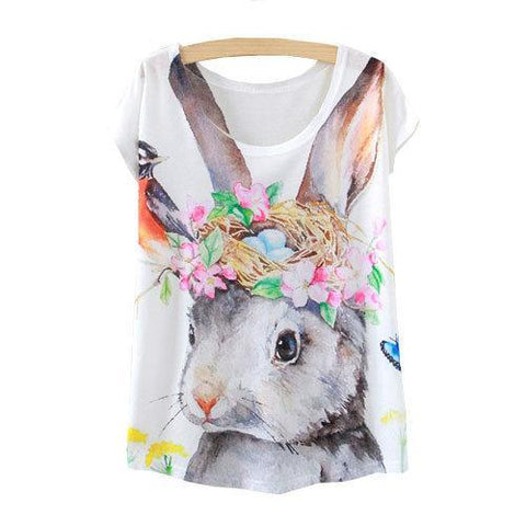 Watercolor Cute Rabbit Printed Short Sleeve Tees-women-wanahavit-One Size-wanahavit