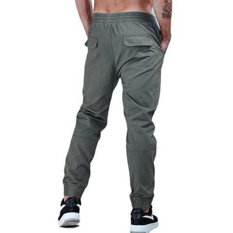 Solid Color Cotton Twill Tapered Jogger Pants-men fashion & fitness-wanahavit-ArmyGreen-28-wanahavit