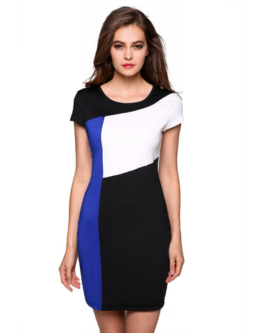 Three Color Slice Accent Summer Slim Fit Dress-women-wanahavit-Blue-XXL-wanahavit