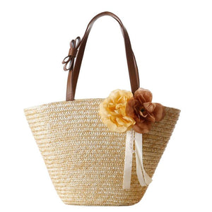 Floral & Ribbon Straw Woven Beach Tote Bag-women-wanahavit-wanahavit