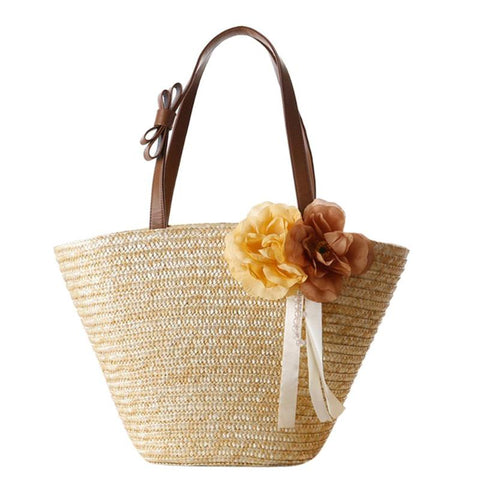 Floral & Ribbon Straw Woven Beach Tote Bag