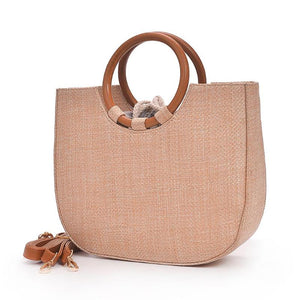 Elegant Round Handle Designer Straw Handbag-women-wanahavit-Khaki-wanahavit