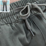 Solid Color Cotton Twill Tapered Jogger Pants