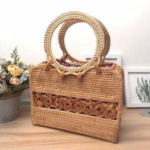 Circular Handle Rattan Bohemian Vintage Tote Bag-women-wanahavit-wanahavit