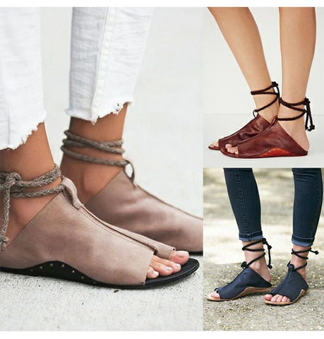 Ankle Strap Soft Leather Flat Sandals