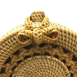 Big Mandala Pattern Flap Round Straw Rattan Bag-women-wanahavit-wanahavit