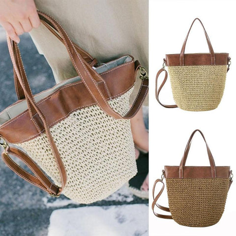 Pillow Shape Straw Tote Bag
