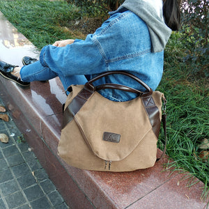 Large Pocket Shopper Canvas Shoulder Bag-women-wanahavit-kahki-(30cm<Max Length<50cm)-wanahavit