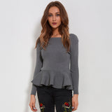 Ruffle Knitted Peplum Long Sleeve Sweater-women-wanahavit-Gray-One Size-wanahavit