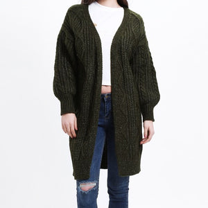 Open Stitch Knitted Long Cardigan-women-wanahavit-Army Green-One Size-wanahavit