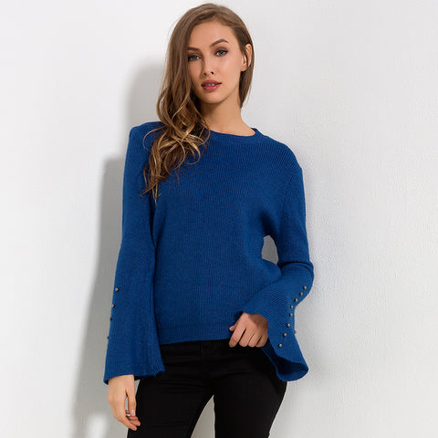 Knitted Solid Color Flare Long Sleeve Sweater