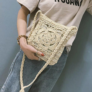 Bohemian Hollow Out Crochet Straw Shoulder Bag-women-wanahavit-Brown-wanahavit
