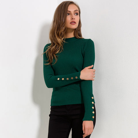 Buttoned Slit Long Sleeve Sweater