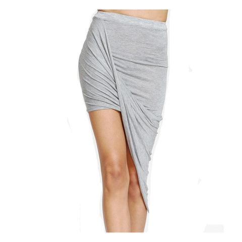 Sexy Wrap Banded Waist Draped Asymmetrical Skirt