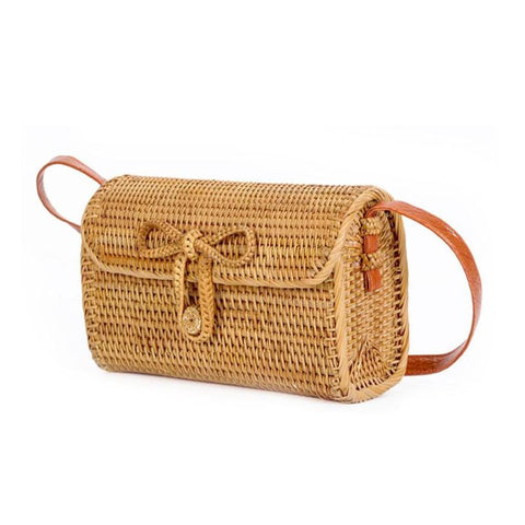 Bali Rattan Butterfly Buckle Satchel Bag