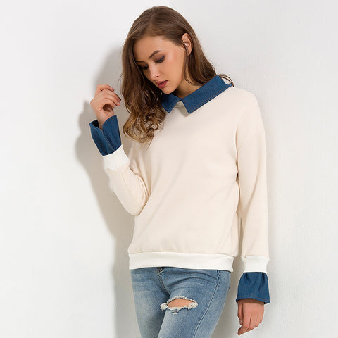 Fleece Denim Collar Flare Long Sleeve Sweatshirt-women-wanahavit-Apricot-L-wanahavit