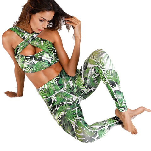 Forest Printed Workout Set Elastic Legging + Sportsbra