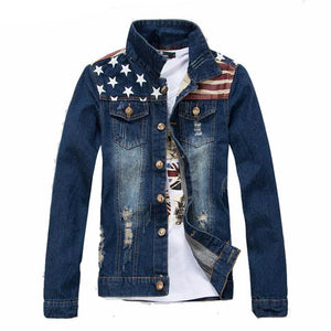 American Flag Printed Slim Fit Denim Jacket-men-wanahavit-America Blue-XXL-wanahavit