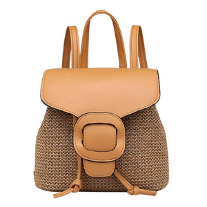 Straw Arcuate Shoulder Strap Flap Backpack-women-wanahavit-Khaki-wanahavit