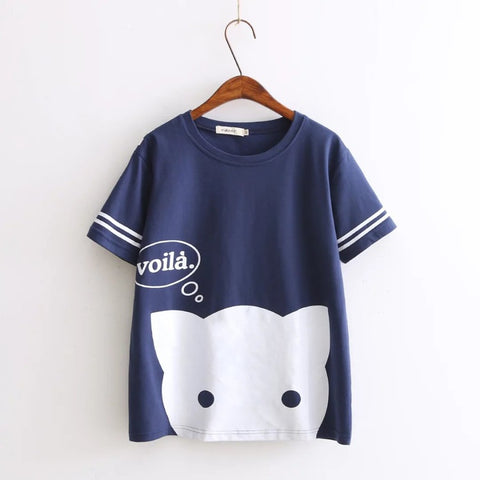 Kawaii Voila Cat Printed Cotton Tees