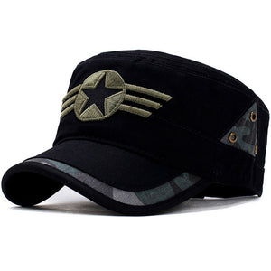 Star and Three Stripe Embroided Military Cap-unisex-wanahavit-Black-One Size-wanahavit