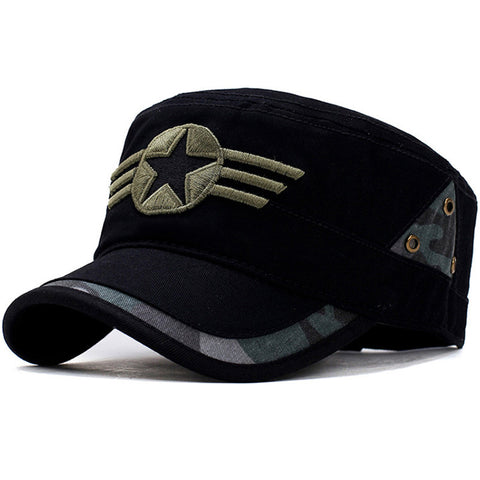 Star and Three Stripe Embroided Military Cap-unisex-wanahavit-BLACK-wanahavit