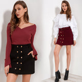 High Waist Double Button Skirt with Belt