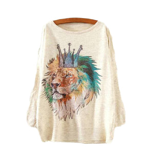 Lion King Printed Knitted Long Sleeve-women-wanahavit-One Size-wanahavit