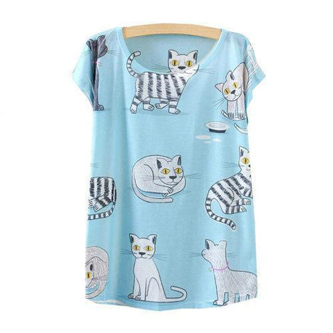 Cat Family Pattern Printed Short Sleeve Tees