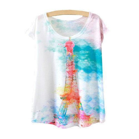 Watercolor Eiffel Tower Printed Short Sleeve Tees-women-wanahavit-One Size-wanahavit