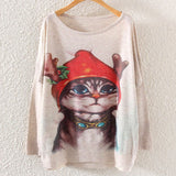 Printed Knitted Winter Long Sleeve Series 1-women-wanahavit-Santa Cat-One Size-wanahavit