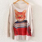 Printed Knitted Winter Long Sleeve Series 1-women-wanahavit-Cat in Sweater-One Size-wanahavit